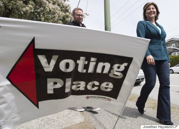 B.C. Liberal Leader Christy Clark smiles after casting her ballot at a polling station in Vancouver on Tuesday