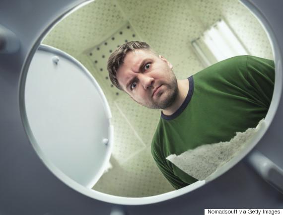 looking in toilet