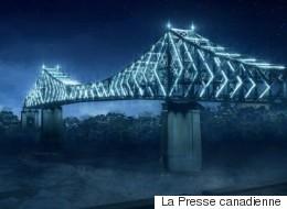 Revivez l'illumination du pont Jacques-Cartier à l'aide d'un drone