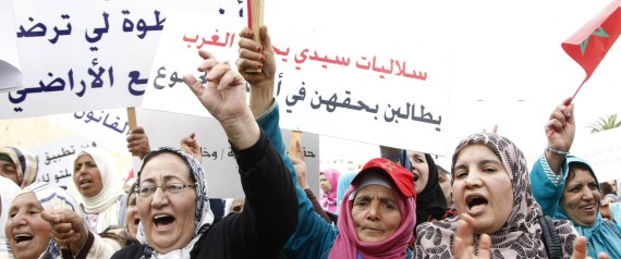WOMEN AT A PROTEST IN MOROCCO