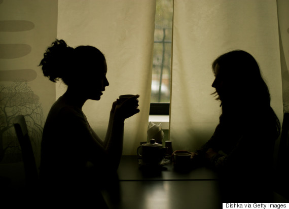 woman silhouette talk