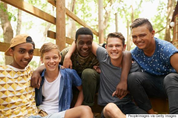 diverse friend group boys