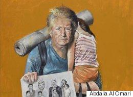 トランプ大統領が難民だったら? シリア出身の画家が描いた世界の指導者(画像集)
