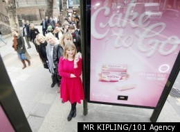 Billboard Dispenses Free Cake