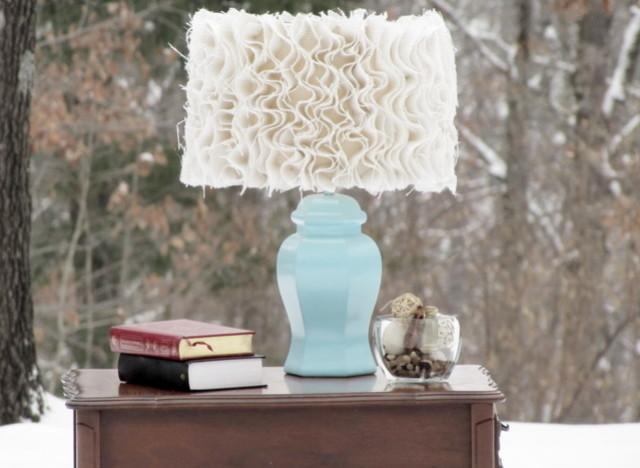 Light blue lamp, white shade