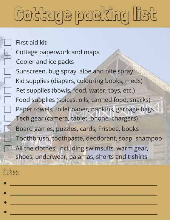 Cottage Packing List The Essentials To Bring For Your Long Weekend