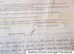 Elle refuse que son fils visite Marineland avec sa classe et lui écrit un mot d'excuse hors de l'ordinaire
