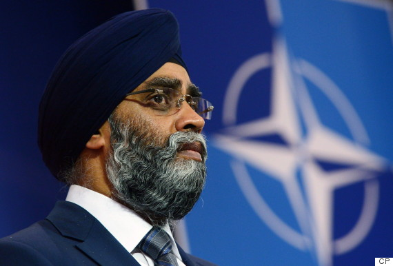 Defence Minister Harjit Sajjan is shown at the NATO summit in Brussels