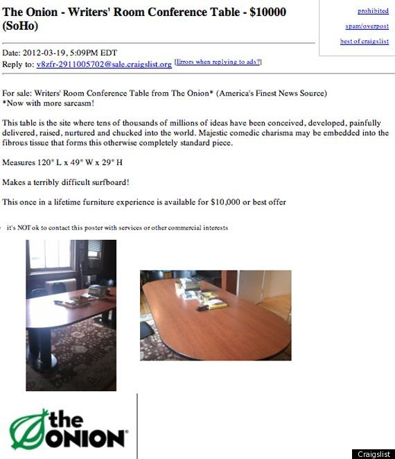 The Onion Writers Room Table On Sale For On Craigslist - Craigslist conference table
