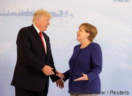 Fast wäre der Handschlag mit Trump wieder schiefgegangen –  dann ergreift die Kanzlerin die Initiative