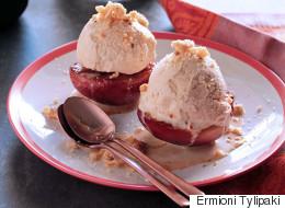 Συνταγή για ψητά ροδάκινα με παγωτό μέλι-κανέλα