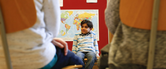 REFUGEE BOY AT GERMAN SCHOOL