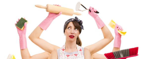 WOMAN CLEANING HOUSE FAMILY