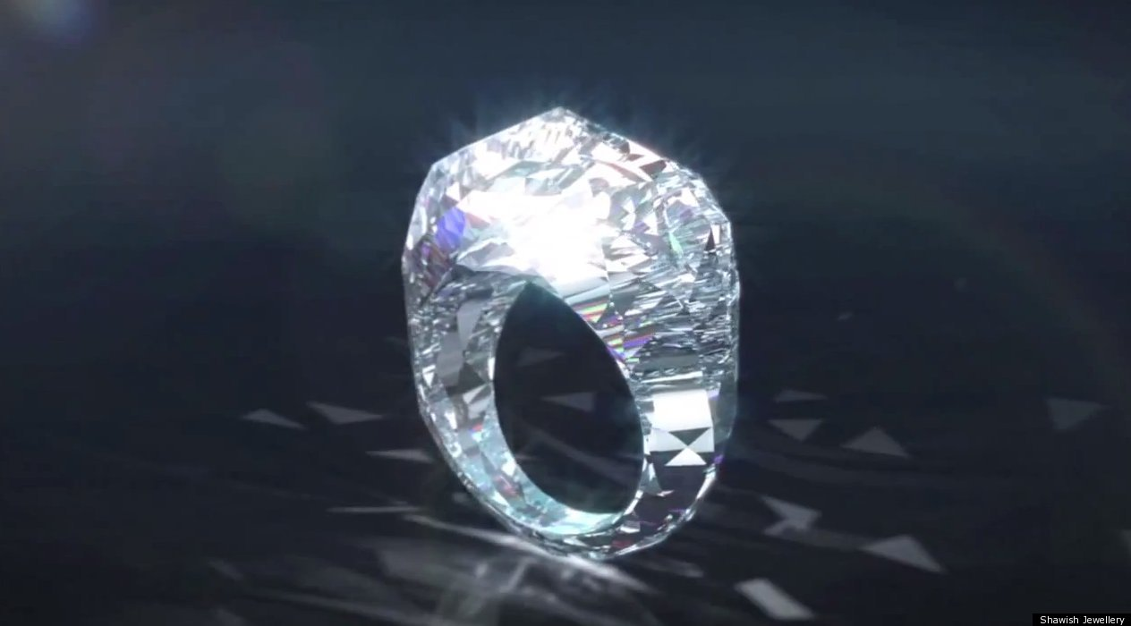 worlds first diamond ring 150 carats of pure unadulterated bling photo video huffpost - Million Dollar Wedding Rings