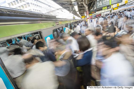 crowded train japan