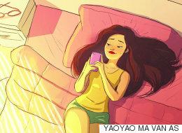 혼자 사는 사람의 행복한 순간들을 그린 일러스트레이션(그림16)