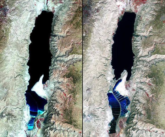 satellite image of the dead sea
