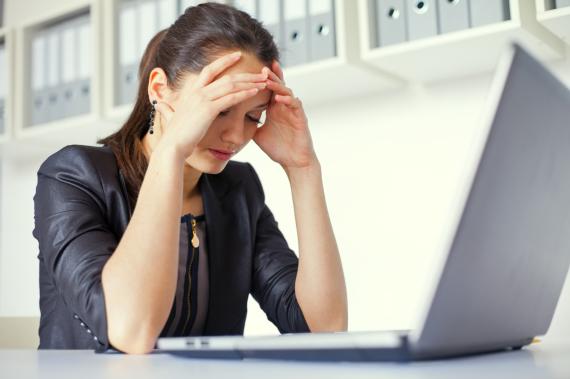 emotional woman laptop