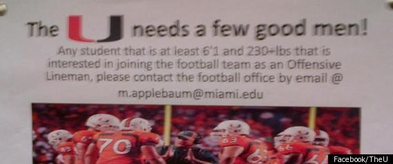 UNIVERSITY OF MIAMI PLACES AD FOR PLAYERS