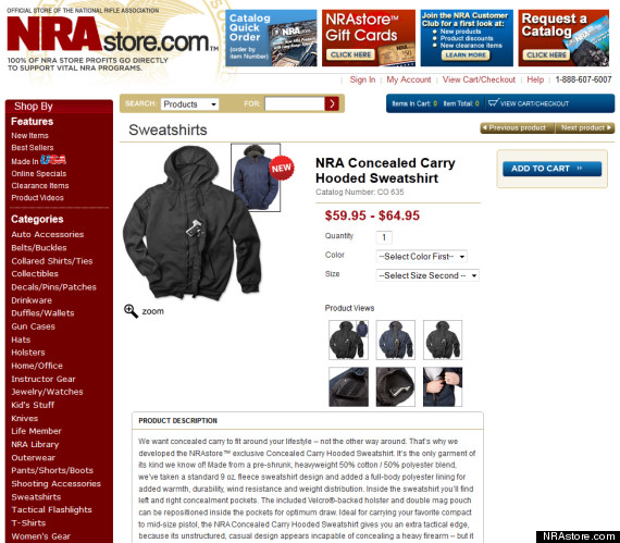 NRA Hoodie: National Rifle Association Selling Concealed Weapon Hooded Sweatshirt The Miami New Times on Tuesday reported that the NRA is selling a hoodie that has pockets specially designed to carry a concealed weapon.