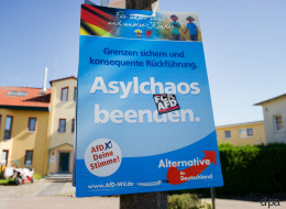 Ein Mann entfernt ein AfD-Wahlplakat - tausende Menschen feiern seine Begründung