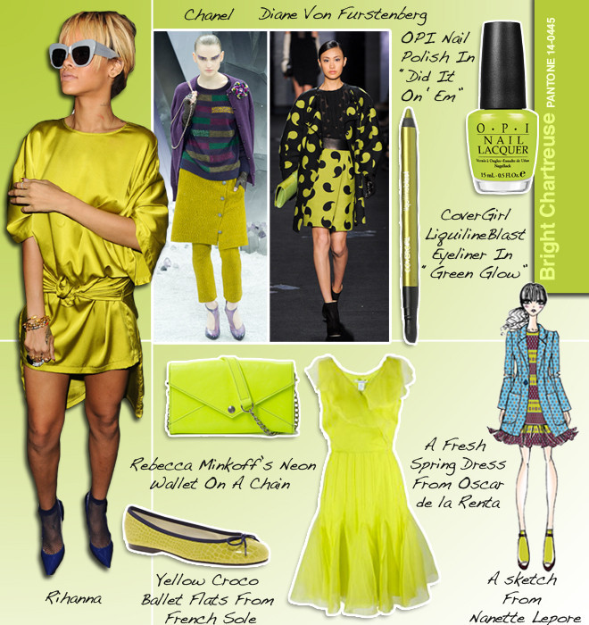 pantone bright chartreuse 14 0445 and the fashion and beauty trends