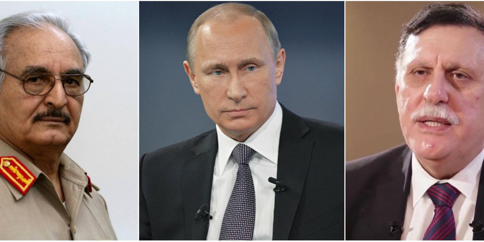 مغامرة بوتين في ليبيا.. الرئيس الروسي يمارس لعبة القوة بين حفتر والسراج.. و3 مكاسب تسعى موسكو لاقتناصها