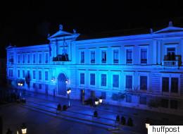 Στις 15 Σεπτεμβρίου το Κεντρικό Κατάστημα της Εθνικής Τράπεζας φωτίσθηκε με το μπλε χρώμα της Δημοκρατίας