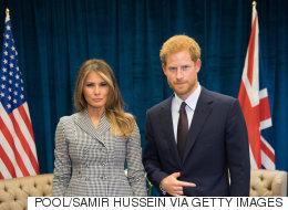 멜라니아와 만난 해리 왕자의 '악마의 뿔' 제스처 논란