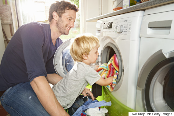 father and child laundry