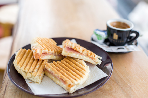 cheese sandwich and coffee