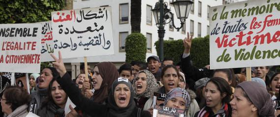 MOROCCO WOMEN PROTESTING
