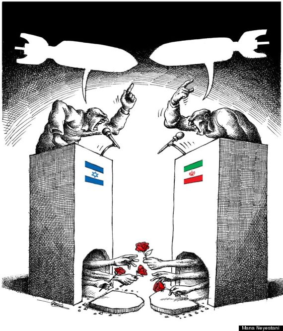 Cartoon for Israeli-Iranian peace, by Mana Neyestani