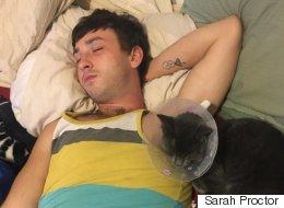 넥카라를 한 고양이의 기분을 풀어주기 위해 주인이 찾은 방법