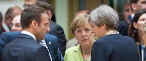 MERKEL AND MACRON AND THERESA MAY