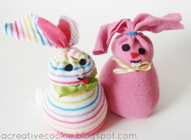 Easter craft ideas an adorable diy sock bunny for easter baskets
