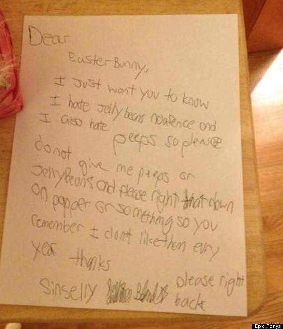 Dear Easter Bunny' Letter Is Surprisingly Bossy (Photo) | Huffpost