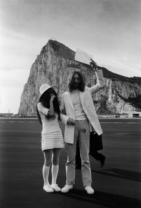 yoko ono getty bride lennon john blushing gibraltar 1969 rock beatles march marriage celebrity married knee socks con marry los