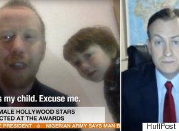 للمرة الثانية.. طفل يدخل على والده أثناء حوار مباشر على قناة تلفزيونية.. كيف تصرف مذيع البرنامج؟