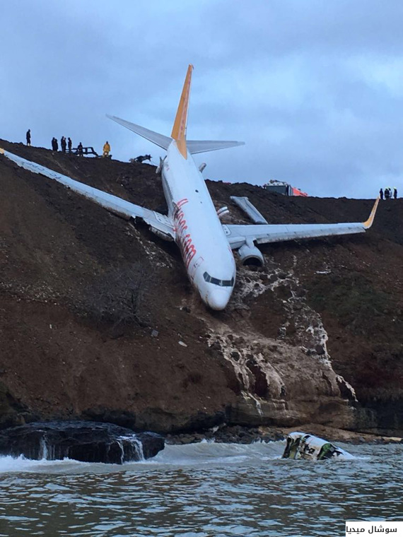 هل شاهدت الصور المرعبة للطائرة التركية؟.. الكشف عن سبب الحادث الذي كاد ينتهي بها في البحر  O-ATTAIRH-570