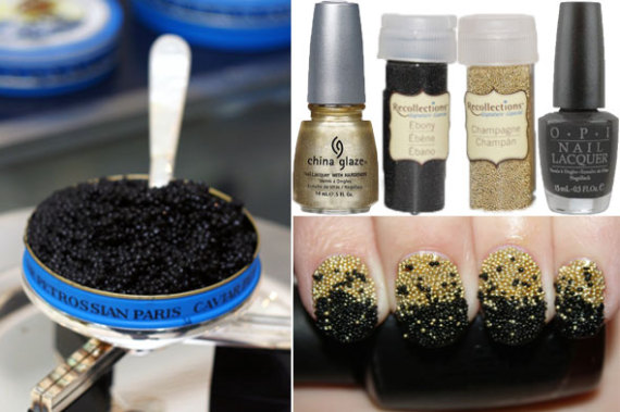 Diy Nail Art Champagne Caviar Inspired Manicure Huffpost