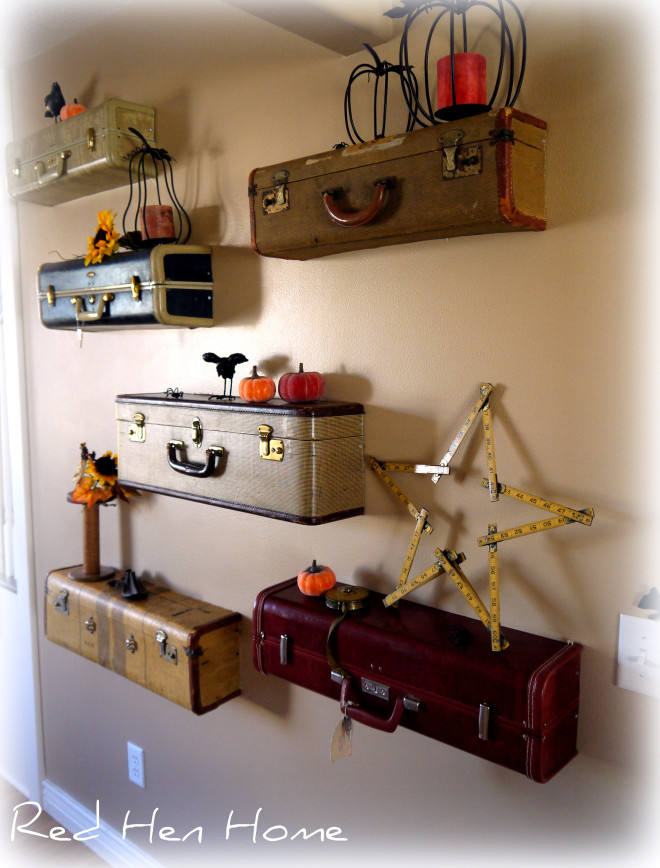 diy idea turn vintage suitcases into a unique shelf wall huffpost