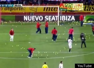 Seriously: Fans Interrupt Soccer Match With Barrage Of Tennis Balls