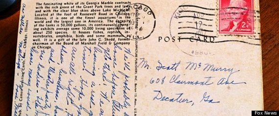 1958 Postcard Mailed From Chicago Finally Arrives A postcard mailed from Chicago in 1958 has finally reached its intended recipient, but not without a little help from Facebook.