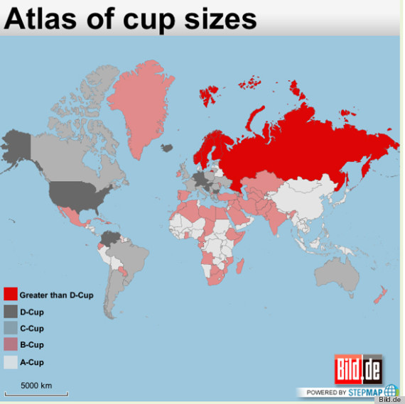 Boob Map Of The World Shows Biggest Boobs In The World ... C Cup Vs D Cup Implants