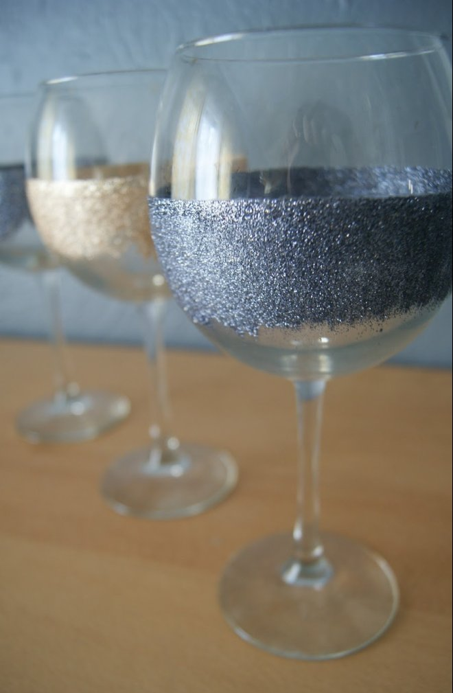 craft of the day make wine glasses glitter with mod podge