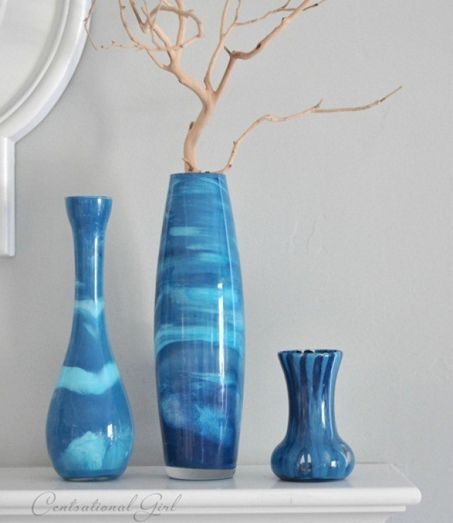 Craft Of The Day Paint Swirl Vases That Mimic Venetian Glass Huffpost