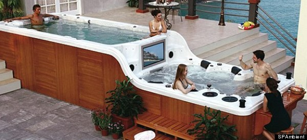 luxema 8000 hot tub has two levels built in flat screen tv stereo system and a bar photos. Black Bedroom Furniture Sets. Home Design Ideas