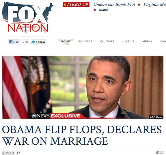 Fox Nation: 'Obama Flip-Flops, Declares War On Marriage'