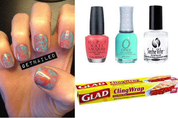Diy nail art coral and aqua saran wrap manicure video huffpost diy nail art saran wrap manicure publicscrutiny Choice Image